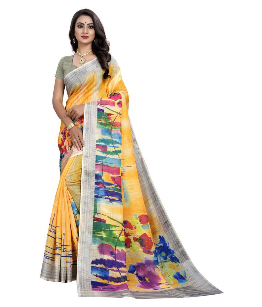 Vachharaj Yellow Linen Saree