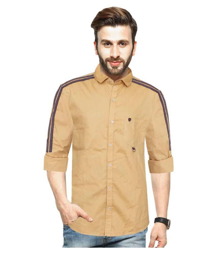 Blue Rock Cotton Blend Beige Solids Shirt