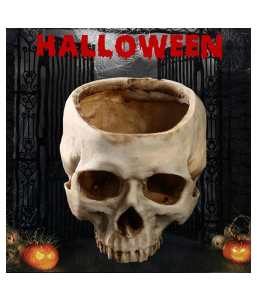 Resin Human Skull Model Flower Pot Shining Fruit Plate Storage Container