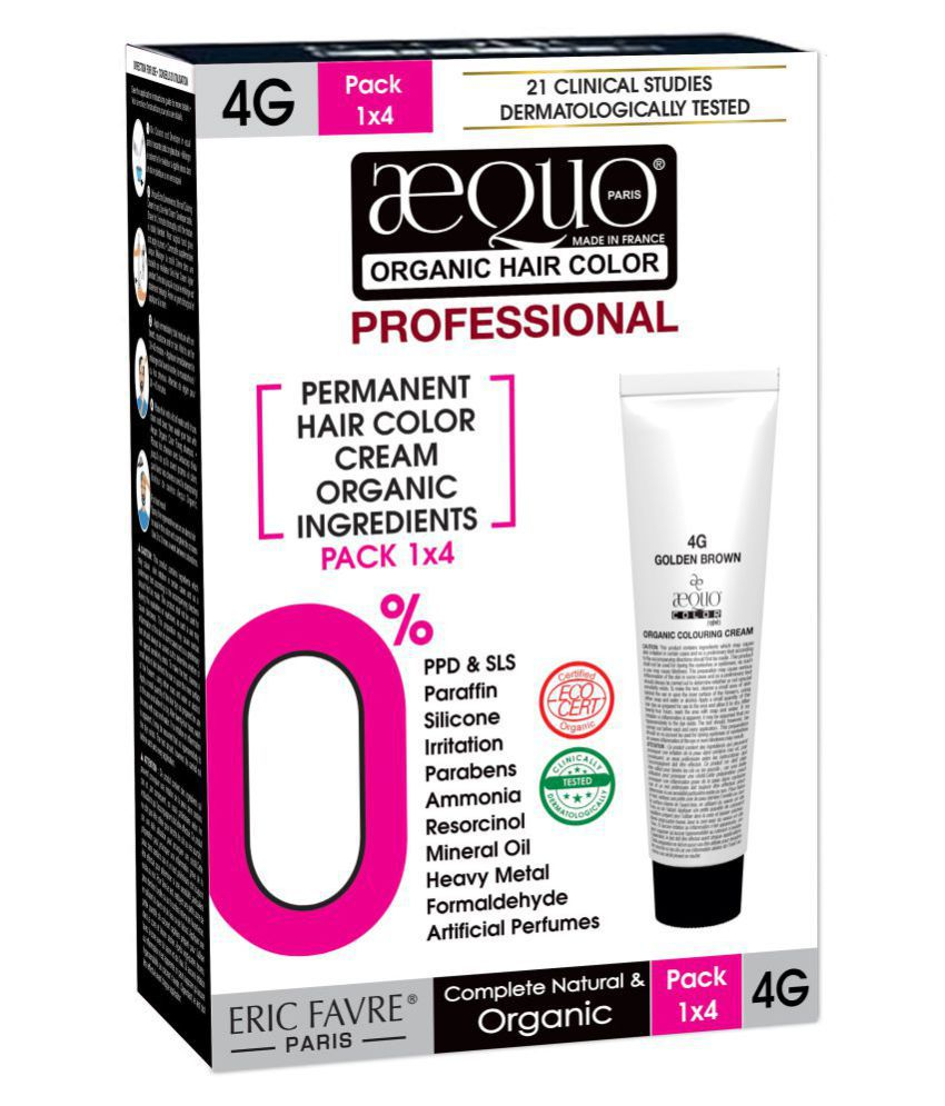Aequo Organic Professional Colouring Cream 4G Permanent Hair Color Brown Golden Brown 200 mL