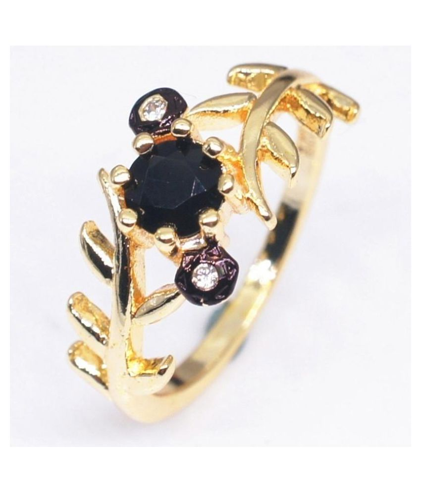 High Quality Vintage Women S 14k Gold Black Diamond Leaf Ring