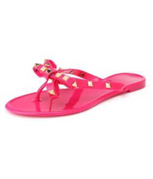 Crystal Thong Sandals Jelly Flip Flop Clinch Bolt Wome Summer Flat Rivet Bowknot