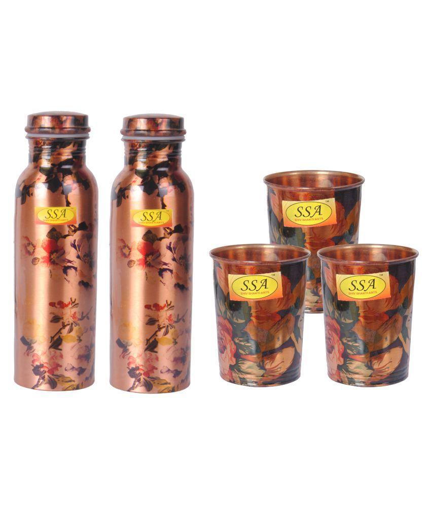 Shiv Shakti Arts Bottle & Glasses Set 5 Pcs Lemon set