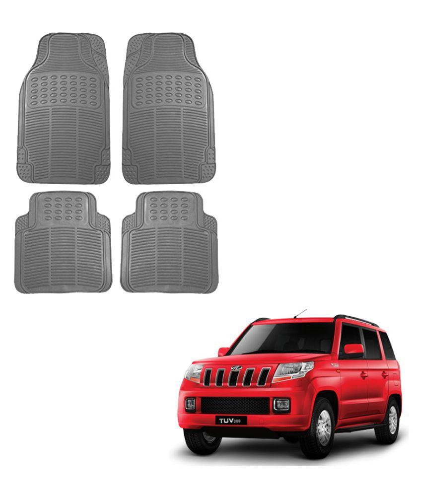 Auto Addict Car Simple Rubber Grey Mats Set of 4Pcs For Mahindra TUV-300