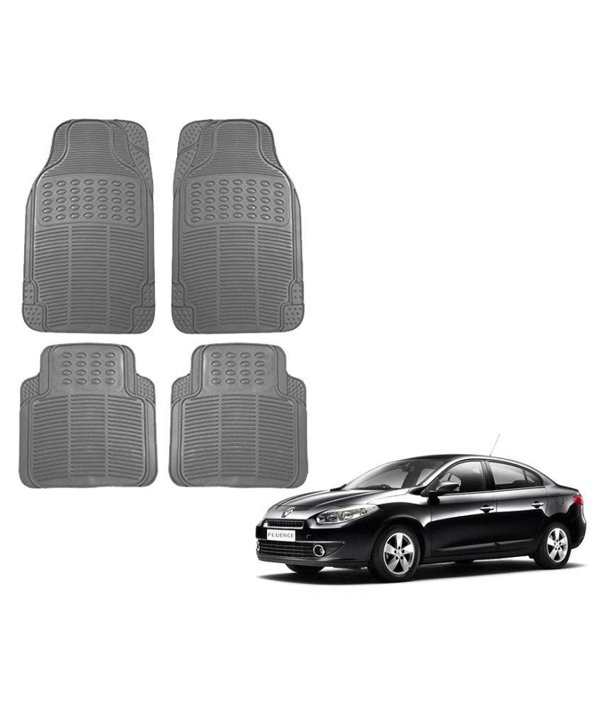 Auto Addict Car Simple Rubber Grey Mats Set of 4Pcs For Renault Fluence