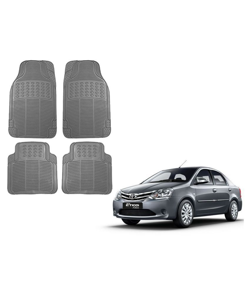 Auto Addict Car Simple Rubber Grey Mats Set of 4Pcs For Toyota Etios