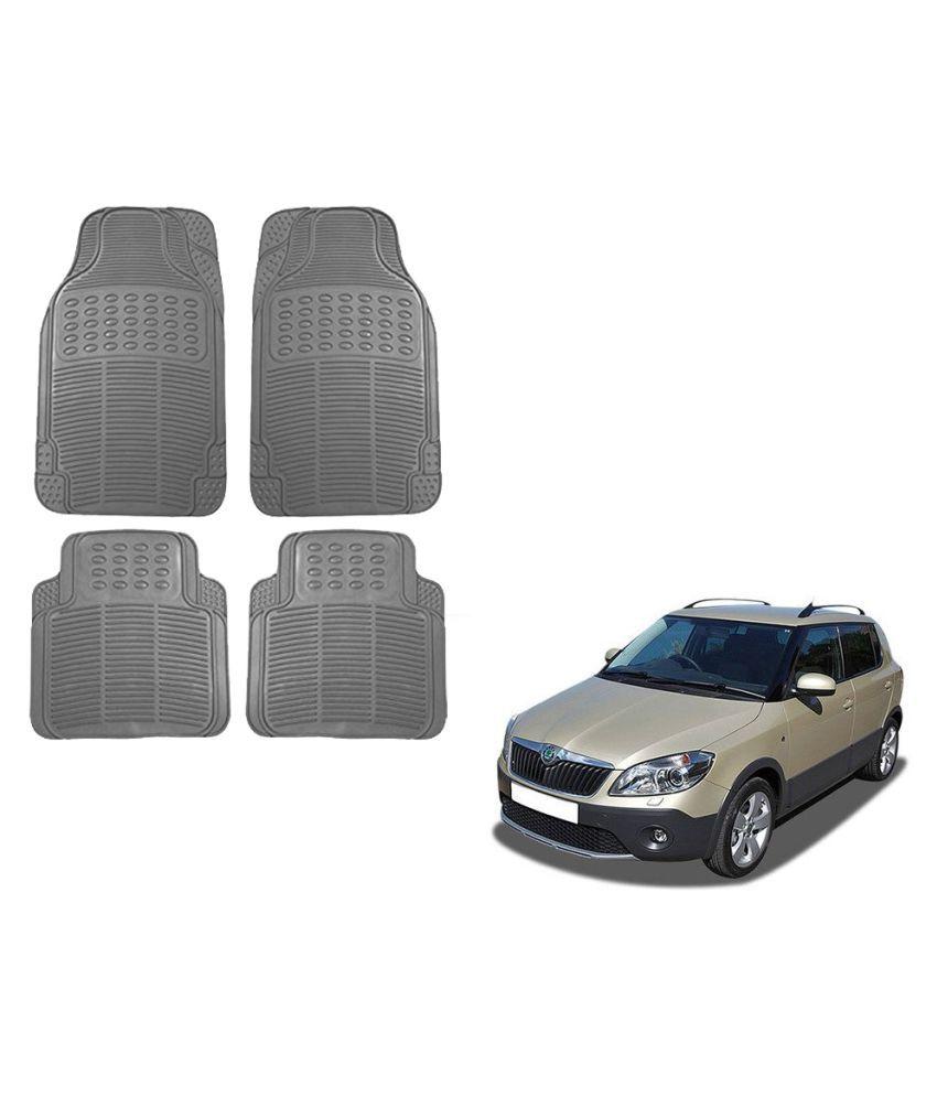 Auto Addict Car Simple Rubber Grey Mats Set of 4Pcs For Skoda Fabia