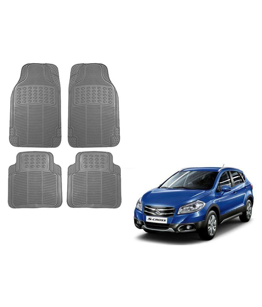 Auto Addict Car Simple Rubber Grey Mats Set of 4Pcs For Maruti Suzuki S-Cross