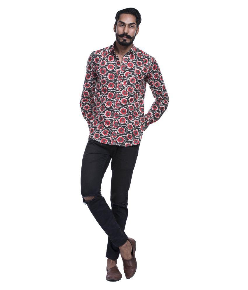 Aanetos 100 Percent Cotton Black Prints Shirt