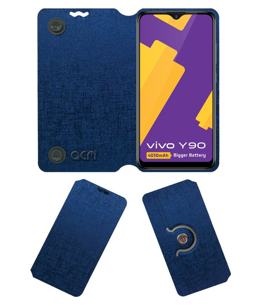 VIVO Y90 Flip Cover by ACM - Blue Dual Side Stand