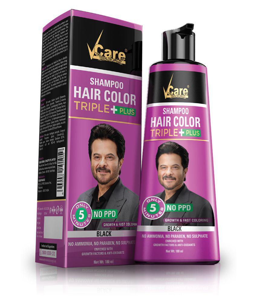 VCare Shampoo Hair Color Temporary Hair Color Black 180 mL