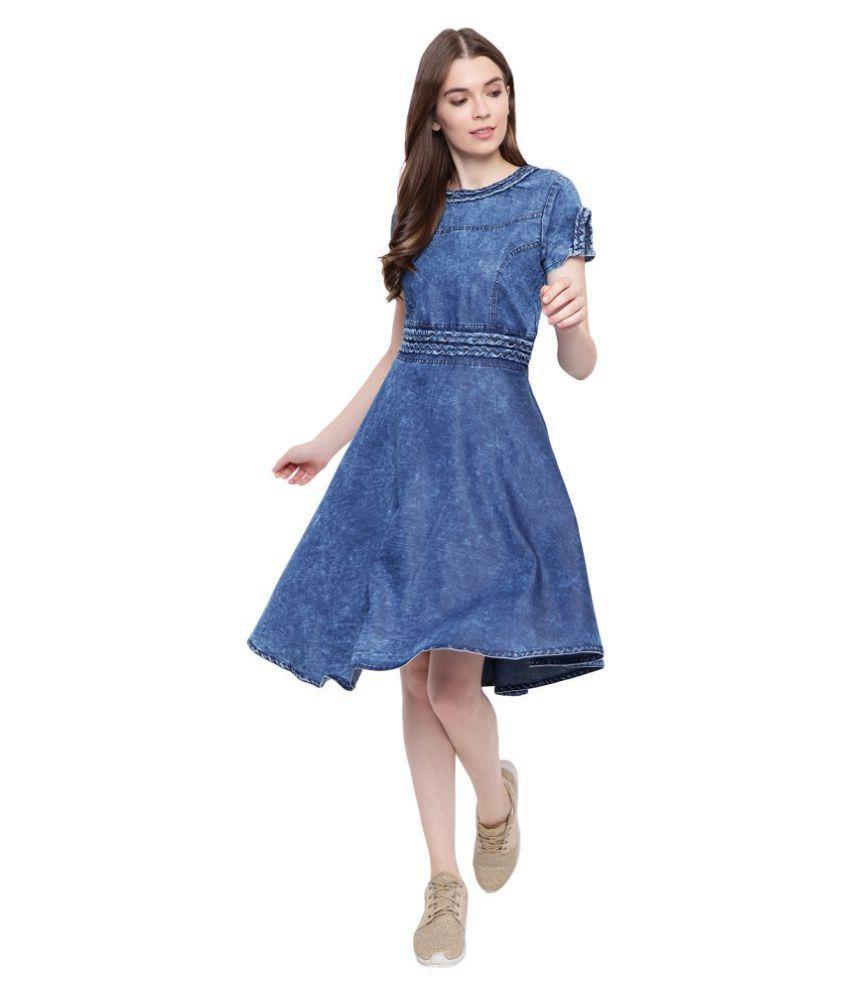 Bi Amma Denim Blue Fit And Flare Dress Buy Bi Amma Denim
