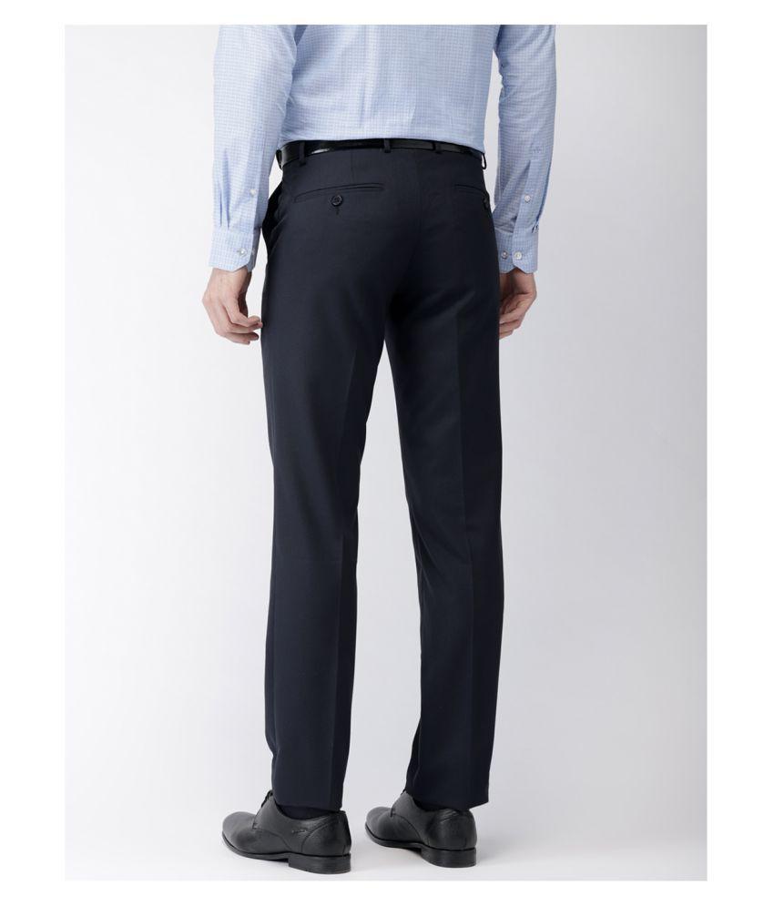 da femme Blue Regular -Fit Flat Trousers