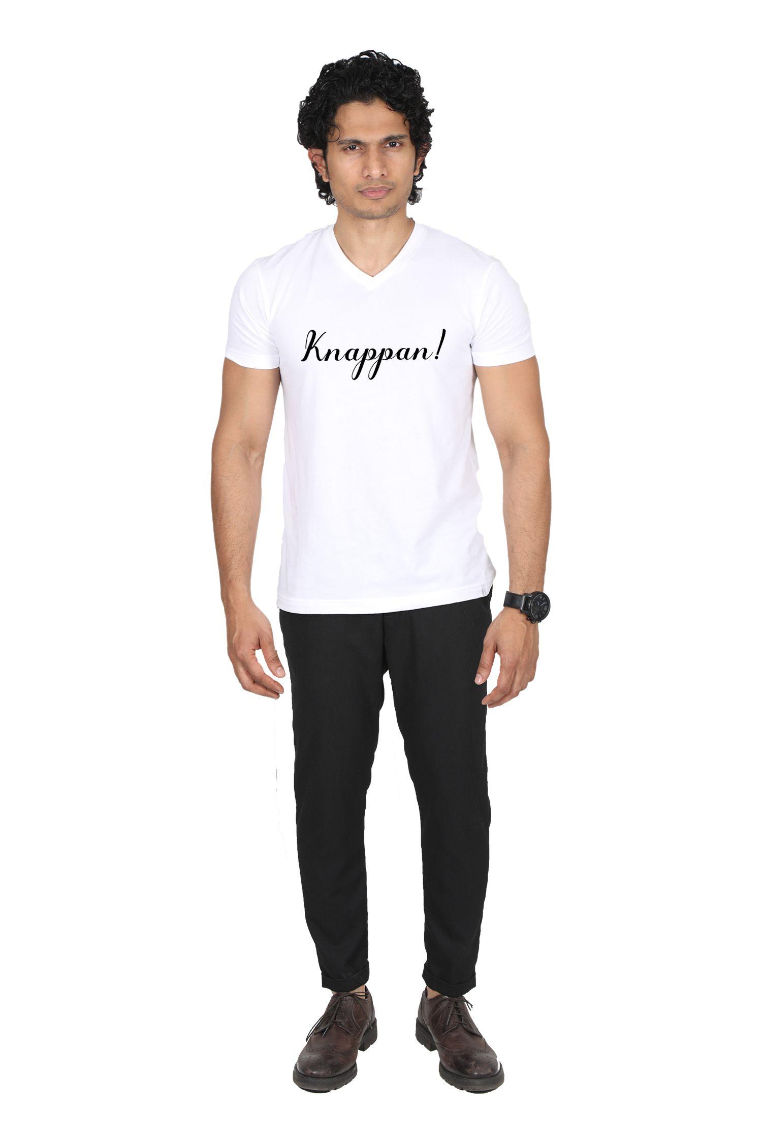 Oviyon 100 Percent Cotton White Printed T-Shirt