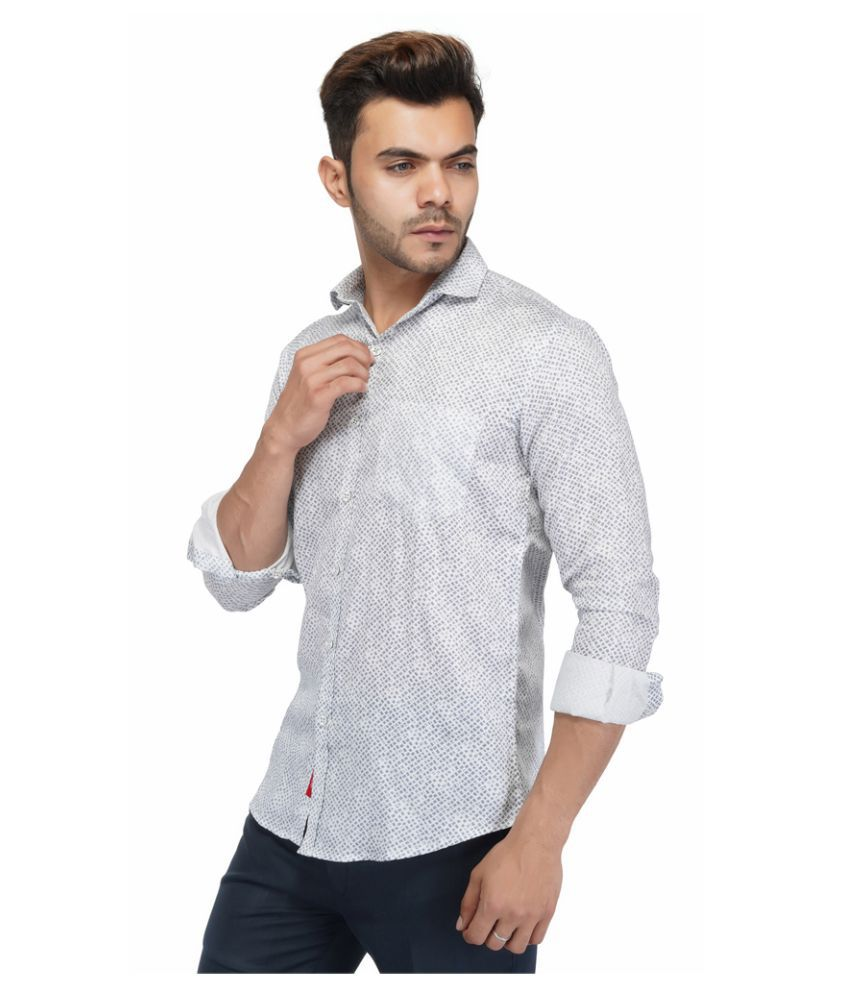 AllenCPR 100 Percent Cotton Grey Prints Shirt