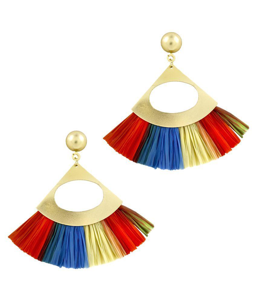 ZIVOM® Fan Tassel Bohemian Gypsy Multi Colour Statement Earrings for Women Girls