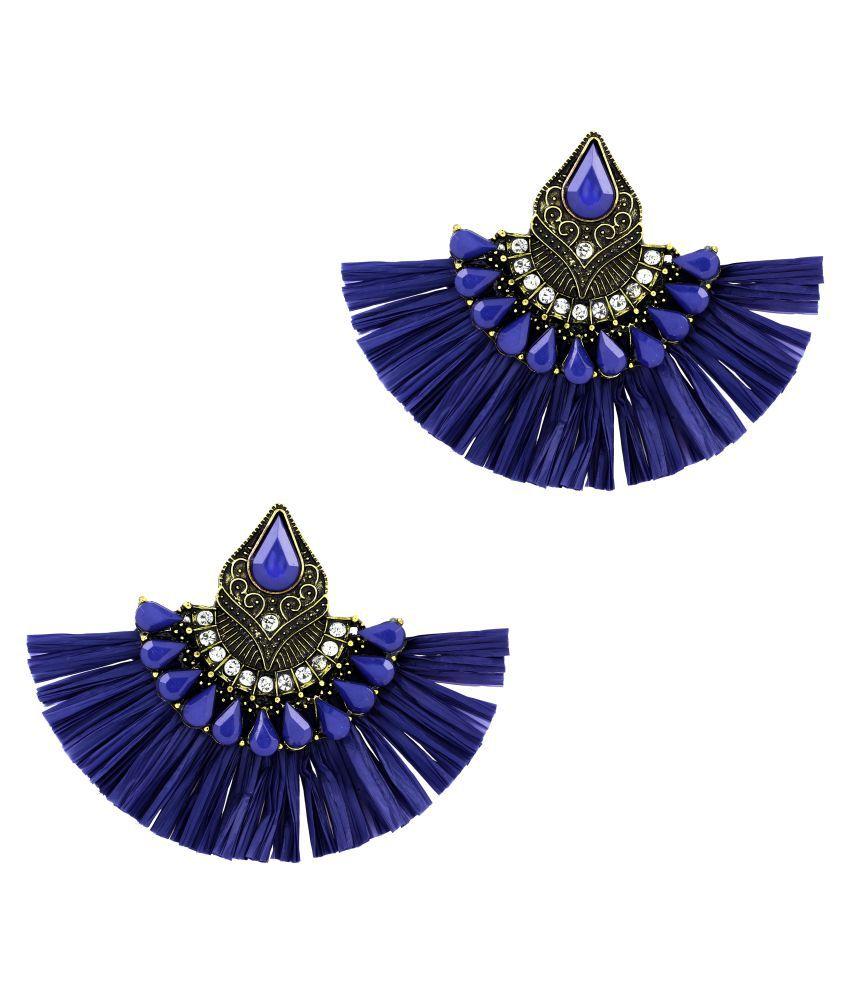ZIVOM® Studded Fan Tassel Bohemian Gypsy Blue Statement Earrings for Women Girls