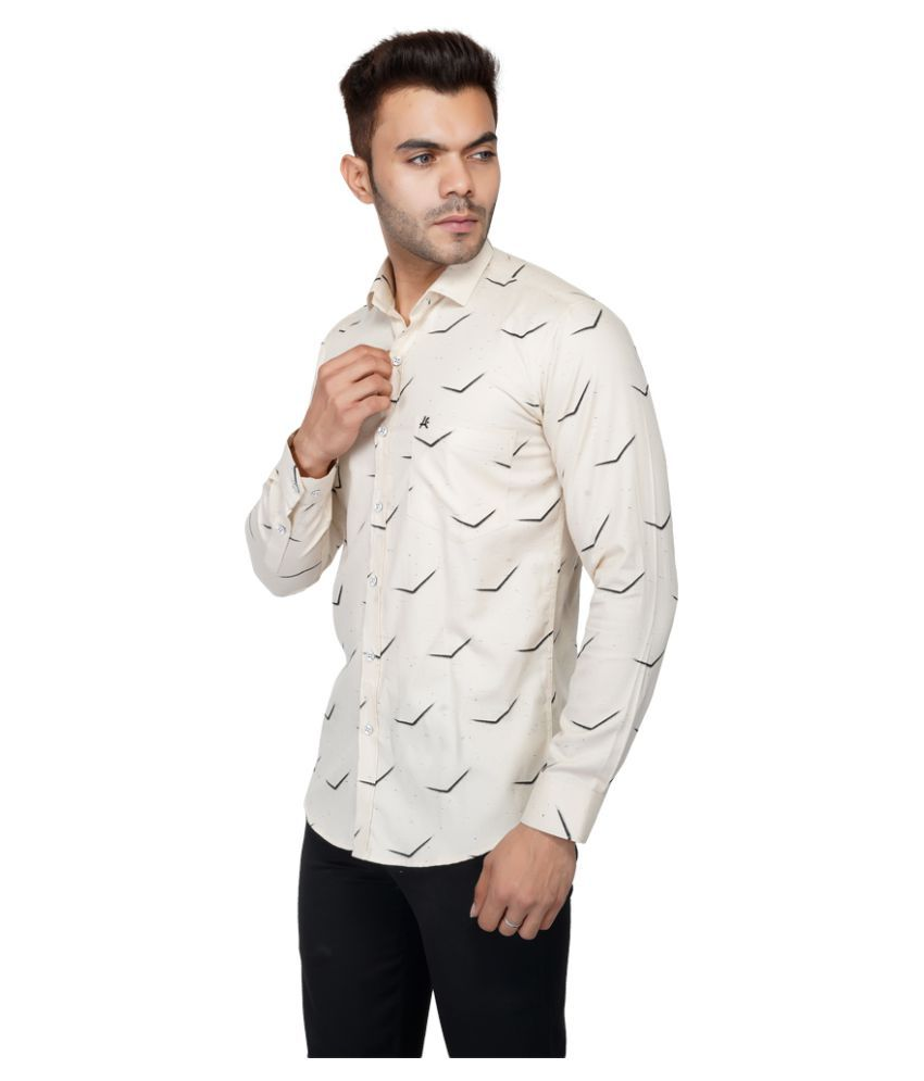AllenCPR 100 Percent Cotton Yellow Prints Shirt