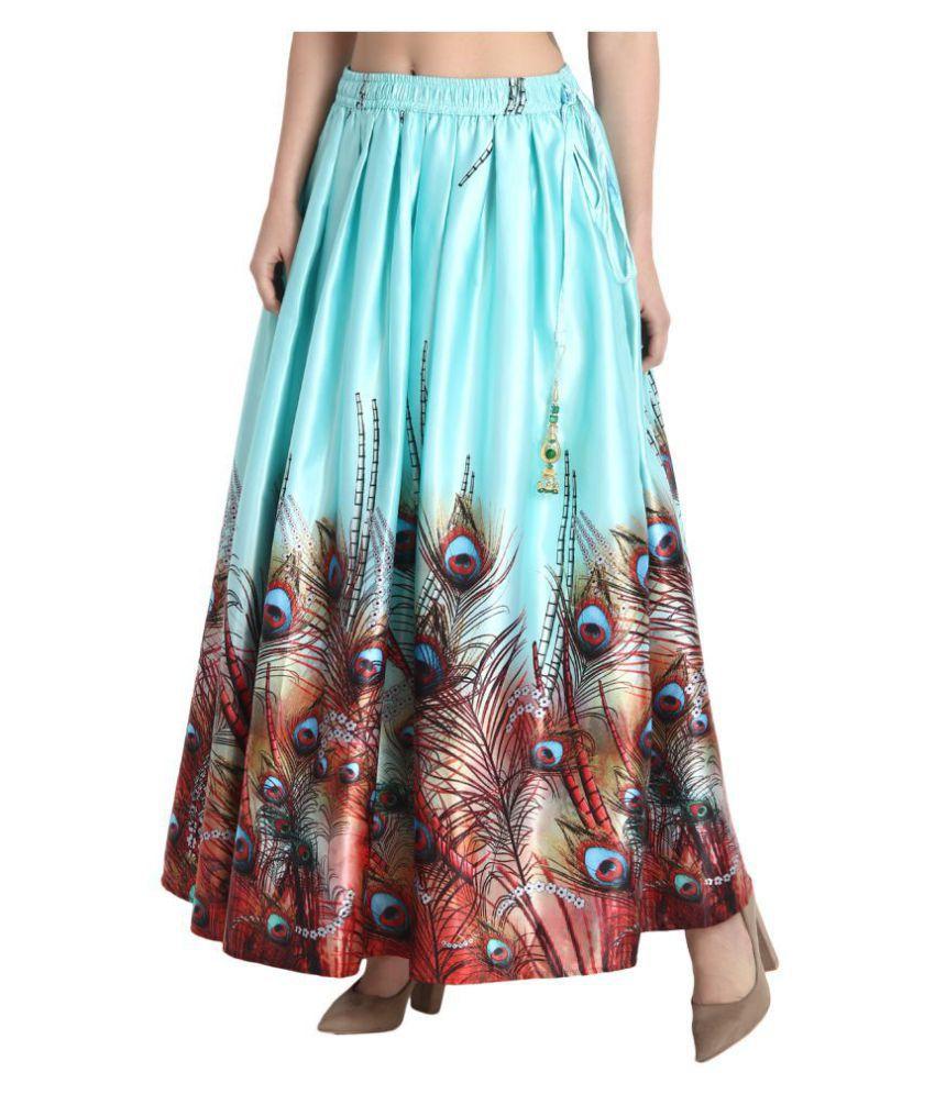 BuyNewTrend Silk Straight Skirt - Turquoise