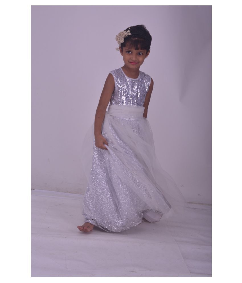Ethnic White Gown Dress For Girls