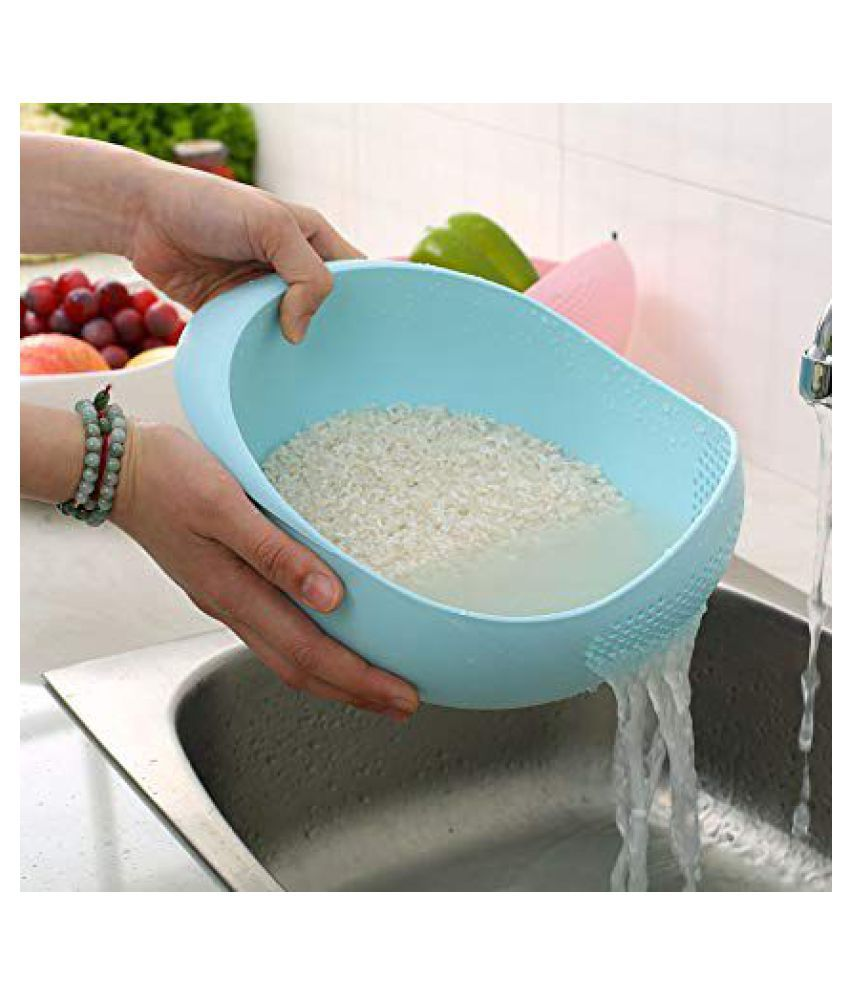 Allamwar blue Plastic Vegetable Fruit Basket Rice Wash Bowl/Strainer Perfect Size for Storing and Straining  20x17x10