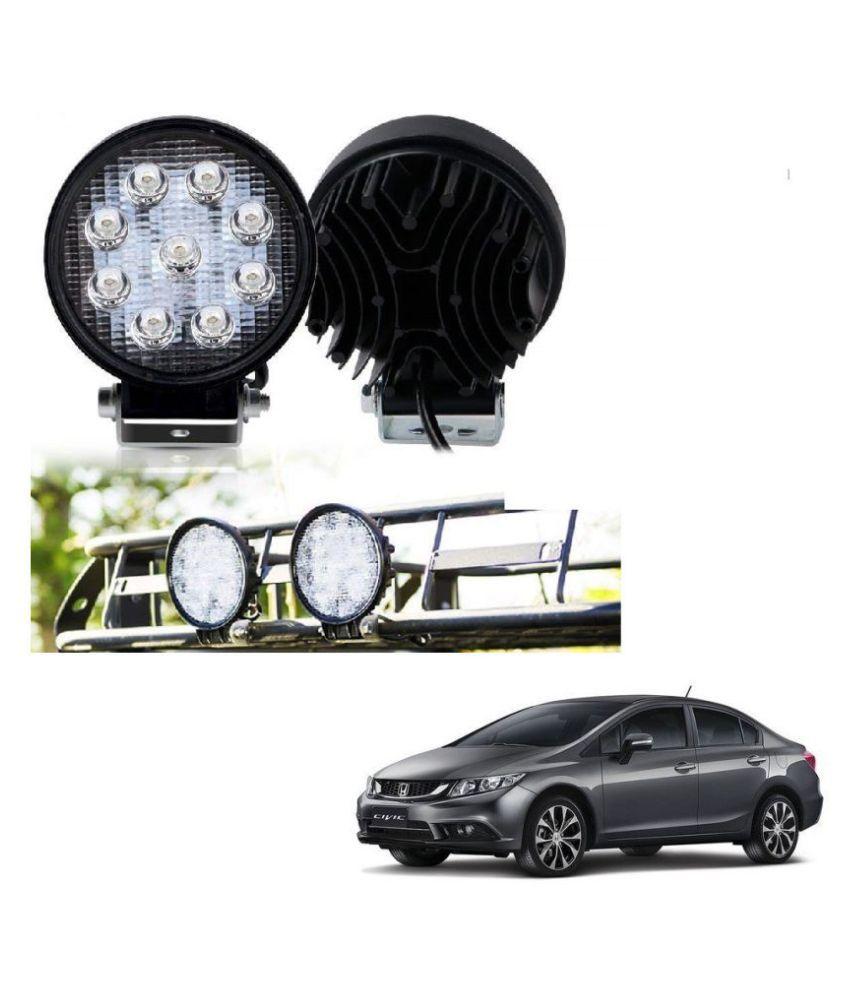 Auto Addict DEVICE 4 inch, 9 LED 27Watt Round Fog Light with Flood Beam Auxiliary Lamp Set Of 2 Pcs For Honda Civic