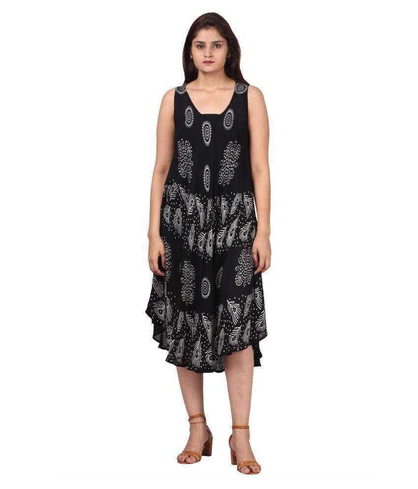 Fit 'N' You Linen Black A- line Dress