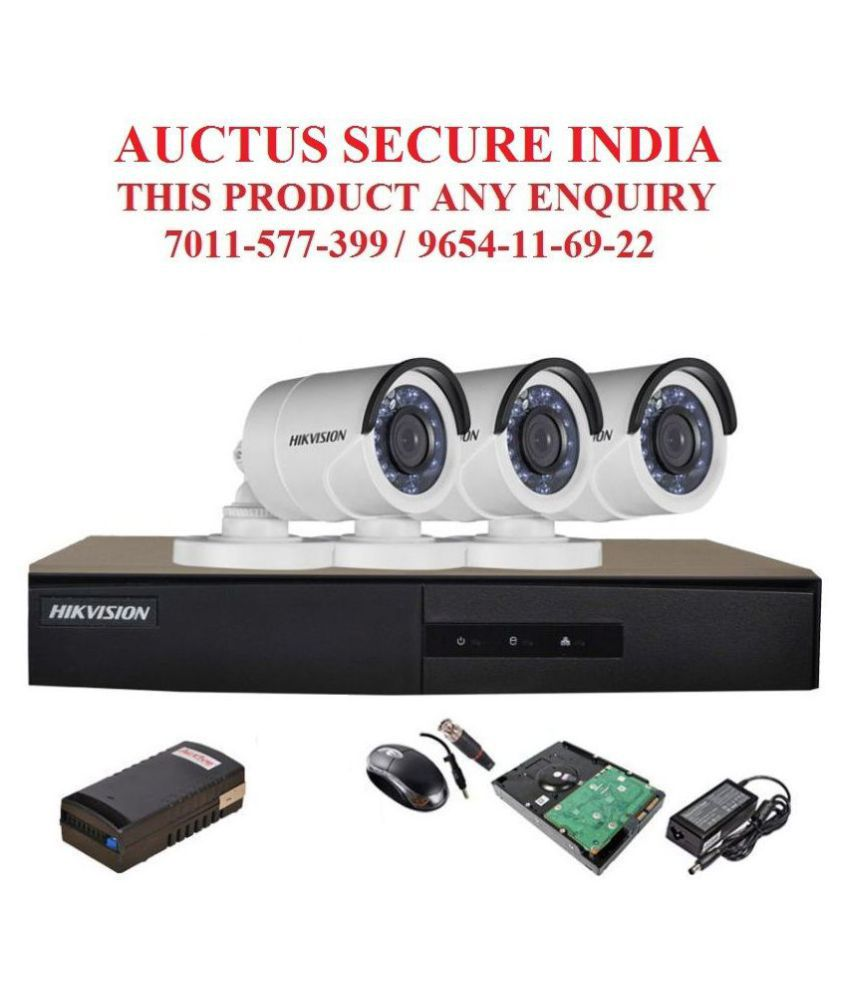 Hikvision 2 MP DVR,Camera,BNC,DC,HDD,Adapter,mouse,Power Supply. Surveillance Kit Night Vision Bullet 1080P Camera