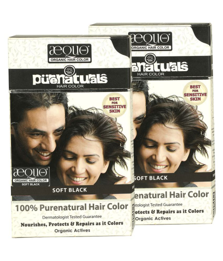 Purenaturals Soft Black Permanent Hair Color Black 60 g Pack of 2