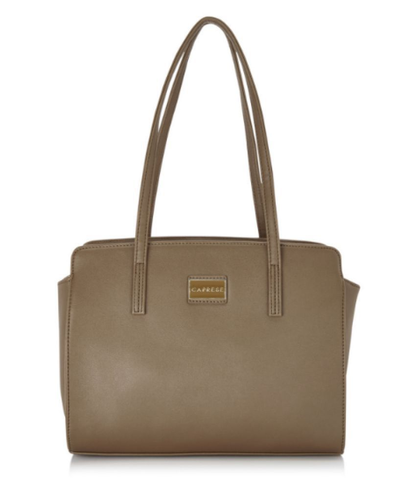 Caprese Brown Faux Leather Satchel Bag