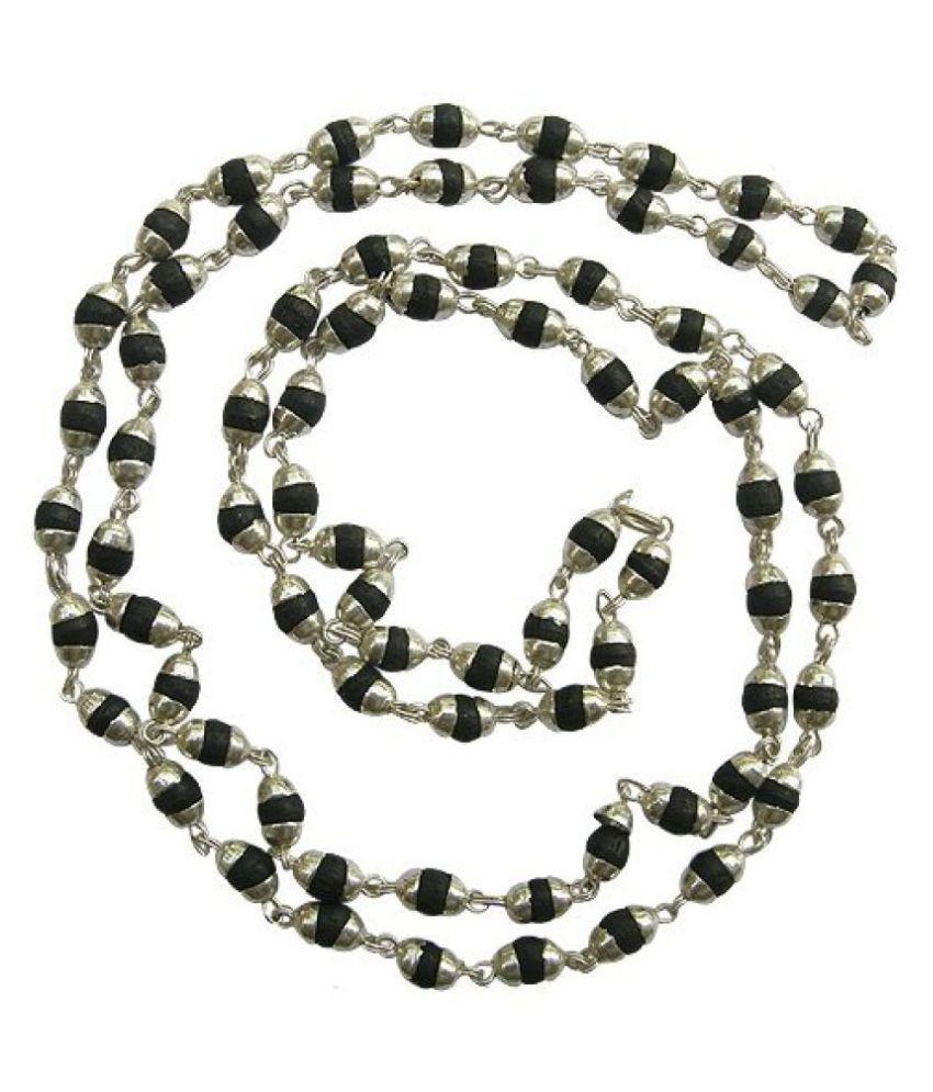 Malabar Gems Natural Black Tulsi Beads In Silver Cap Rosary Japa Mala For Unisex