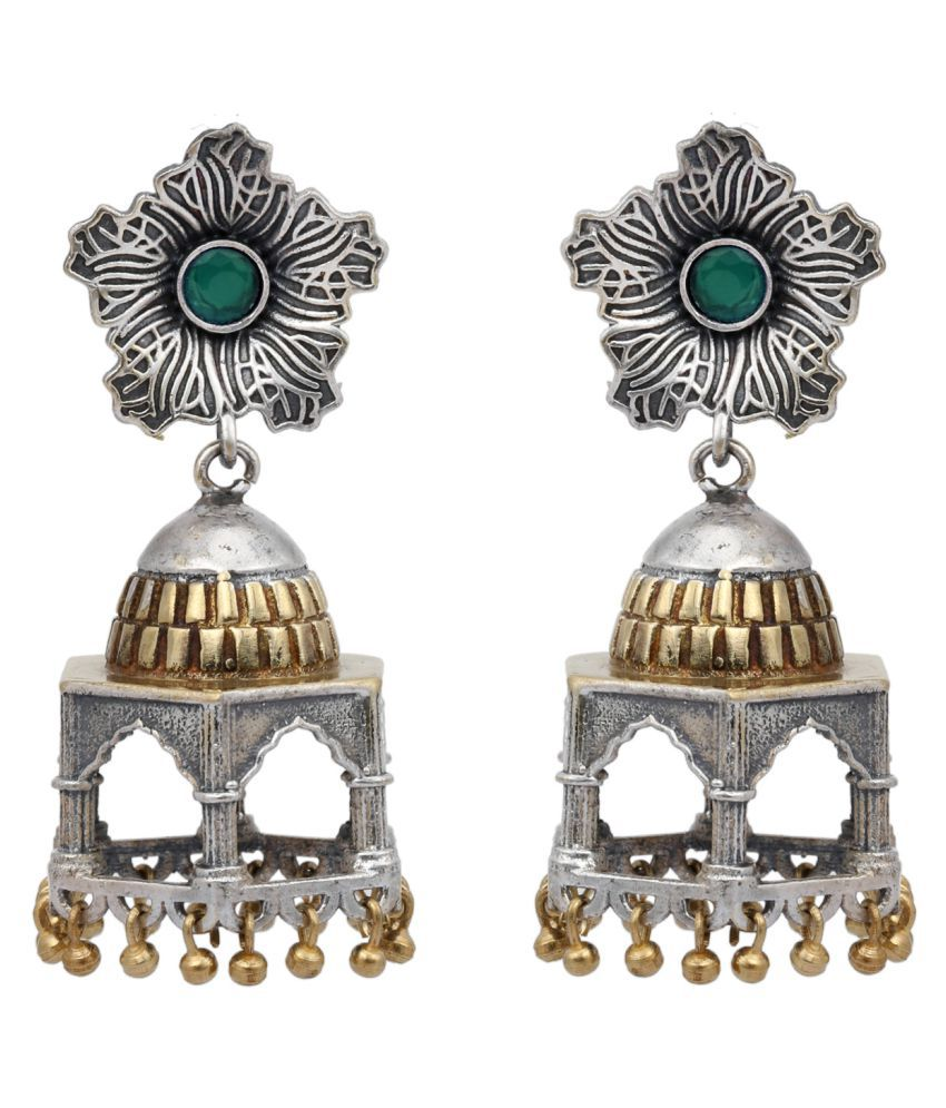 Peora Indian Traditional Handcrafted Imperial Royal Palace Oxidised Silver Floral Jhumka Jhumki Earring for Women Girls