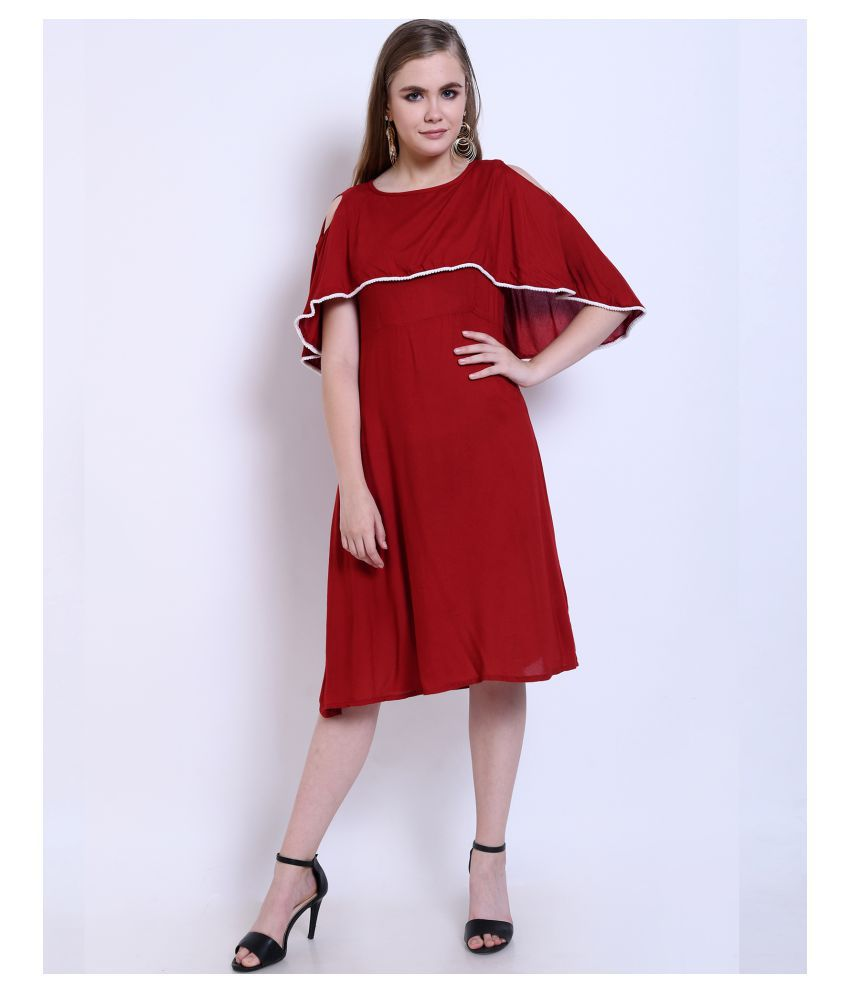 Addyvero Rayon Red Shift Dress