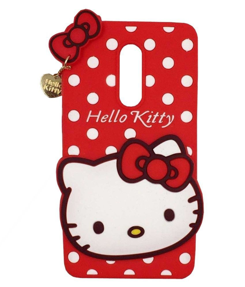 Xiaomi Redmi Note 5 3D Back Covers By Wrapitup 3D Cute Cartoon Hello Kitty Soft Silicone - Red