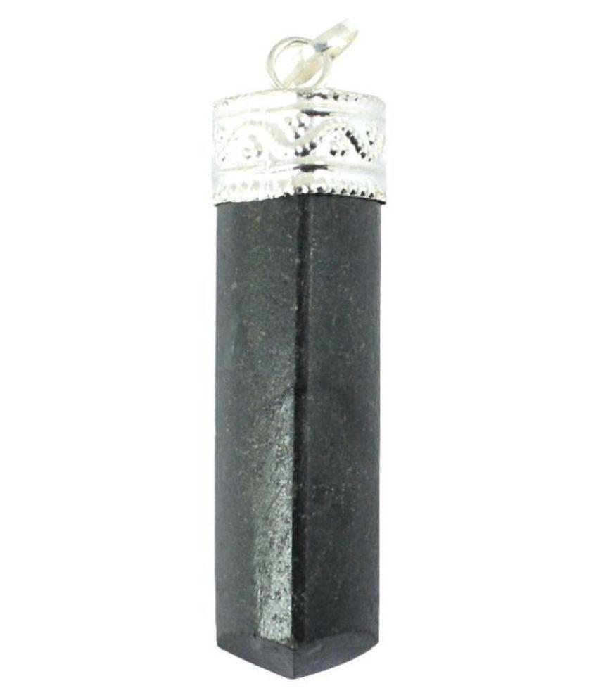 Black Tourmaline  Natural Agate Stone Pencil Pendant