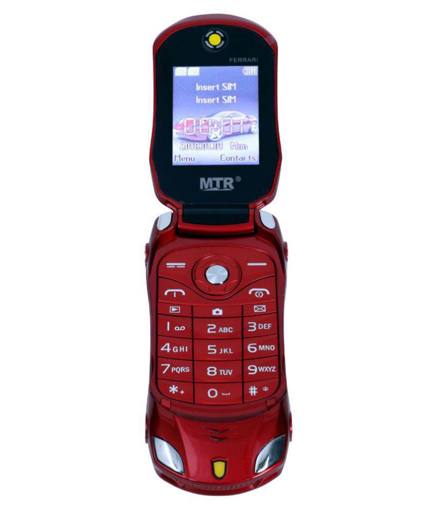 MTR FARARI CAR SHAPED FLAP MOBILE PHONE,DUAL SIM, 800 MAH BATTERY, CAMERA, BLUETOOTH, BIG SOUND, FM , RED
