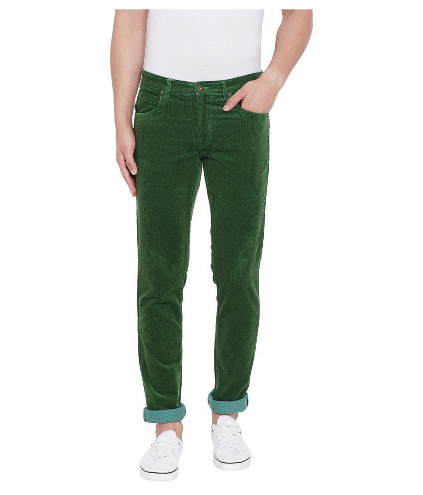 American Archer Green Slim -Fit Flat Chinos
