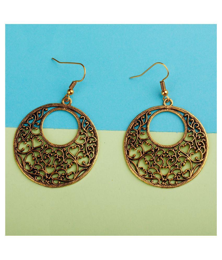 Silver Shine Golden Antique Hollow Design Earrings for Women