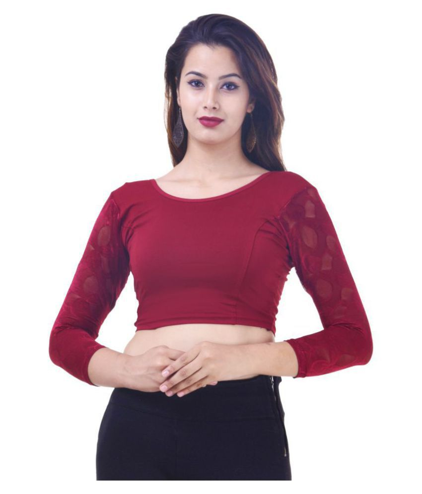 Wow Maroon Lycra Readymade without Pad Blouse