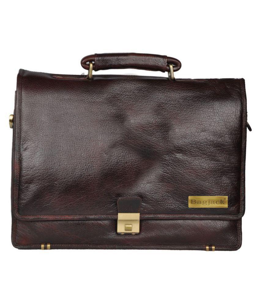 Bag Jack Medusae Ellesse Brown Leather Office Messenger Bag