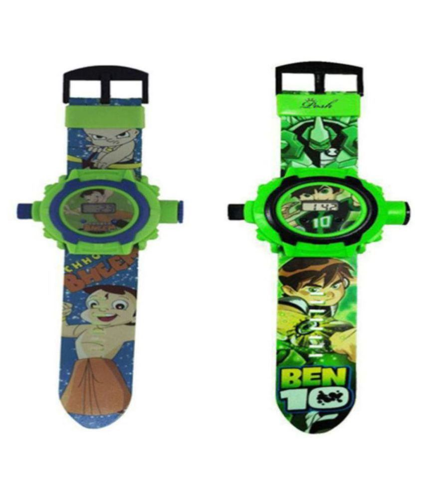 Ben10 and Chota Bheem 24 Images Projector Kid #039;s Watch Combo  Set of 2