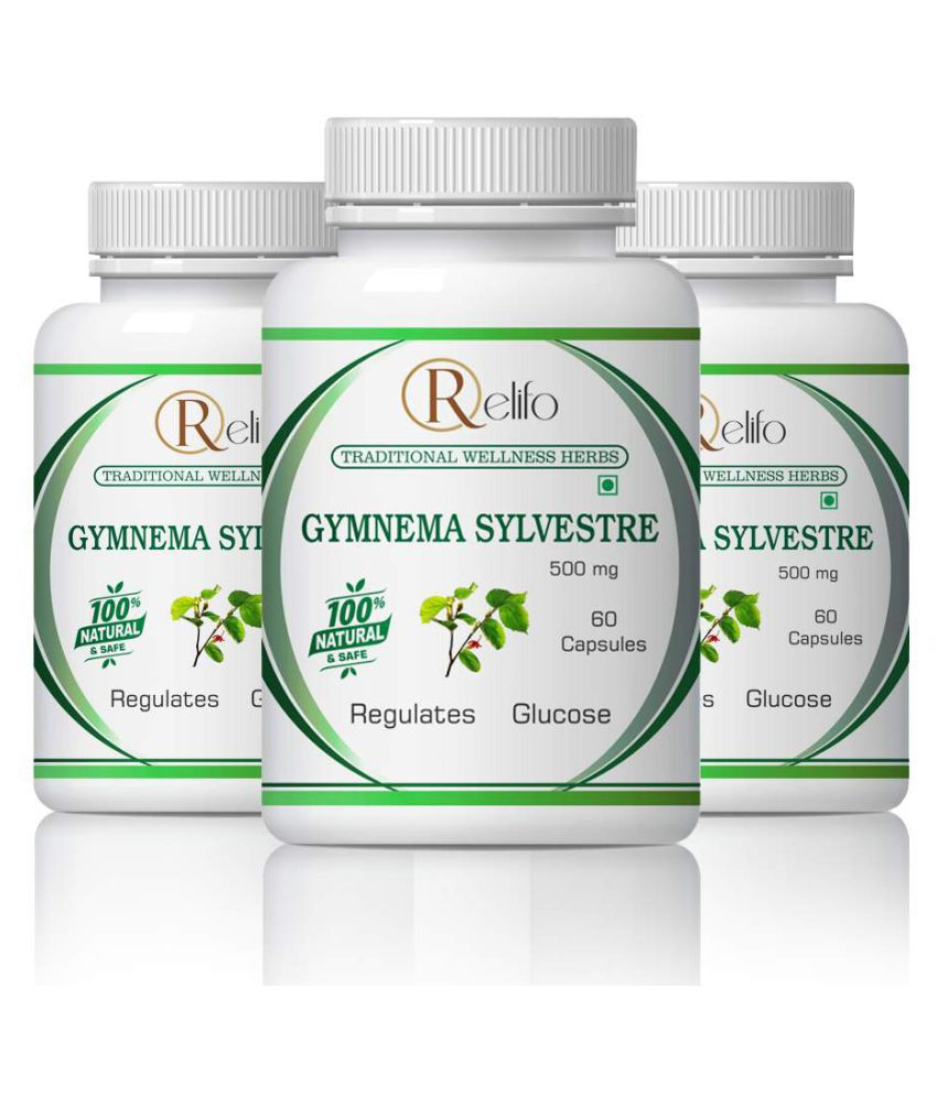 Relifo Gymnema Best For Diabetes & Health Care Capsule 500 mg Pack of 3