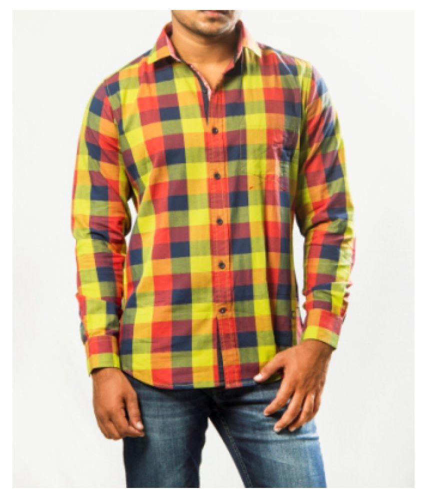 Red Chief 100 Percent Cotton Green Checks Shirt