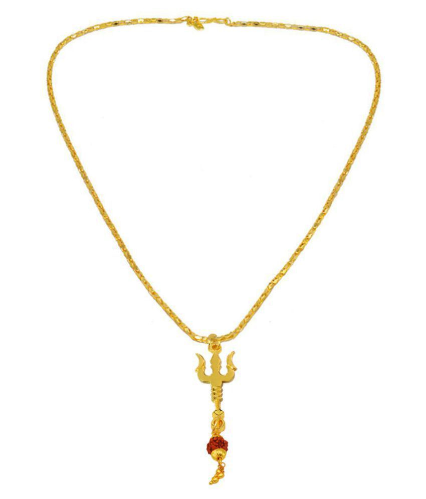Men Style  Om Shiv Trishul Rudhrasha Locket With Rope Chain Gold-plated Brass Pendant Set