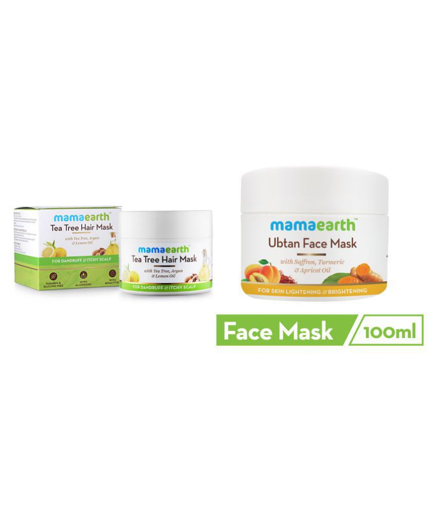 Anti Dandruff Tea Tree Hair Mask with Tea Tree and Lemon Oil For Danrduff Control and Itch Treatement, 200ml Ubtan Face Pack Mask for Fairness, Tanning & Glowing Skin with Saffron, Turmeric & Apricot Oil, 100 ml