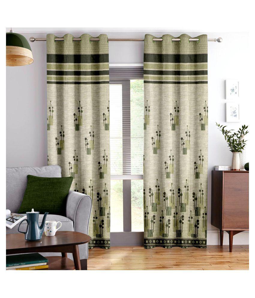 Story@Home Single Door Blackout Room Darkening Eyelet Jute Curtains Green
