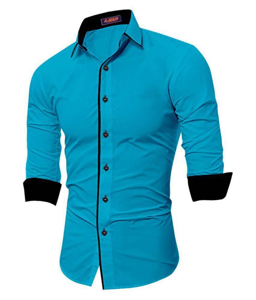 SUR-T 100 Percent Cotton Blue Solids Shirt