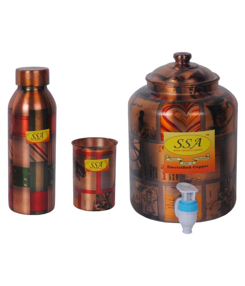 Shiv Shakti Arts Copper Drinkware Set 3 Pcs Juice Set