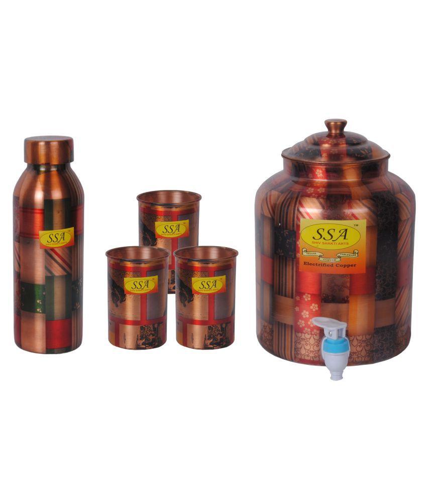 Shiv Shakti Arts Copper Drinkware Set 5 Pcs Juice Set