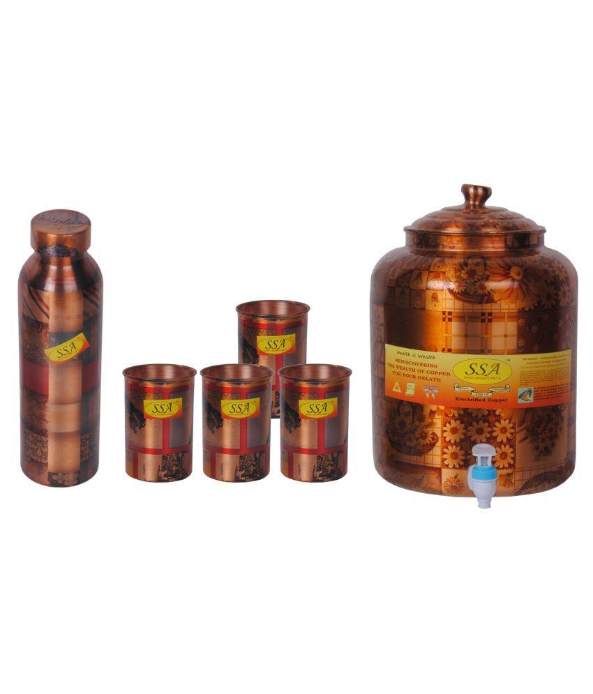Shiv Shakti Arts Copper Drinkware Set 6 Pcs Juice Set